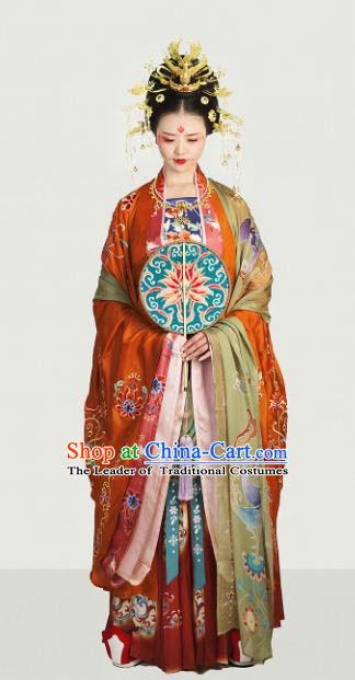Traditional Chinese Tang Dynasty Wedding Embroidered Costume Ancient Imperial Empress Hanfu Dress for Women