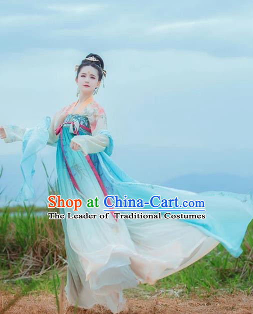 Chinese Tang Dynasty Palace Princess Embroidered Costume Traditional Ancient Maidenform Hanfu Dress for Women