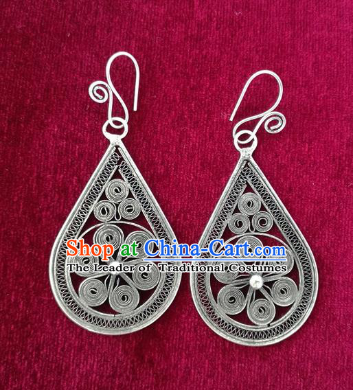 Chinese Miao Sliver Ornaments Sliver Filigree Earrings Traditional Hmong Handmade Eardrop for Women