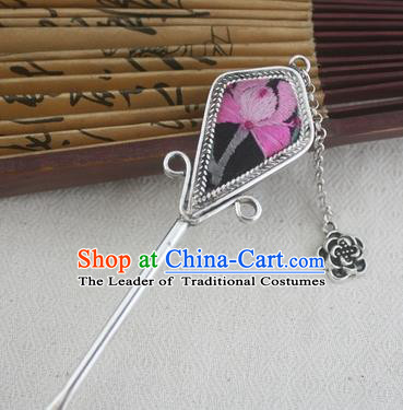 Traditional Chinese Miao Nationality Embroidered Sliver Hair Clip Hanfu Hairpins Hair Accessories for Women
