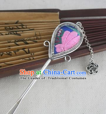 Traditional Chinese Miao Nationality Sliver Tassel Embroidered Hair Clip Hanfu Hairpins Hair Accessories for Women