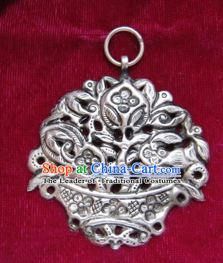 Chinese Miao Sliver Ornaments Carving Necklace Traditional Hmong Sliver Longevity Lock Pendant for Women