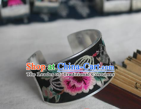 Chinese Miao Sliver Ornaments Bracelet Traditional Hmong Handmade Sliver Embroidered Pink Peony Bangle for Women