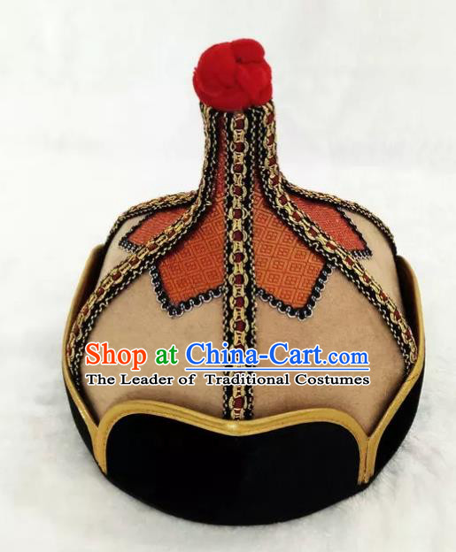 Chinese Traditional Mongol Stage Performance Khaki Hats, Mongolian Folk Dance Headwear for Men