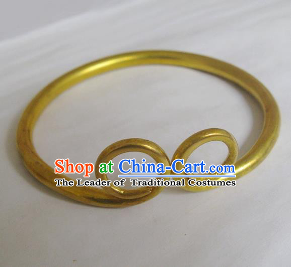 Handmade Chinese Miao Nationality Brass Bracelet Traditional Hmong Golden Hoop Bangle for Women