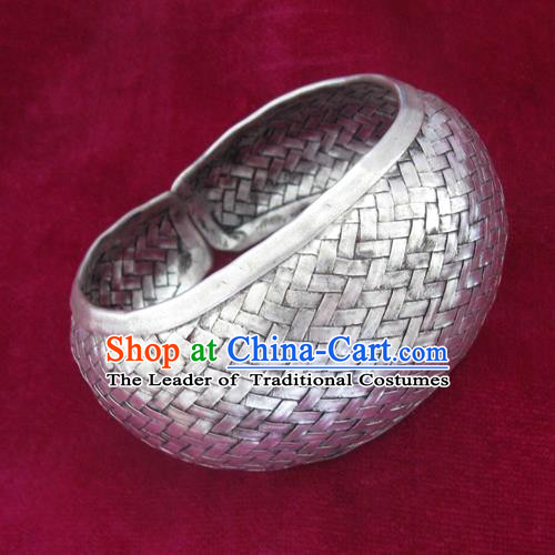 Handmade Chinese Miao Nationality Wide Bracelet Traditional Hmong Sliver Bangle for Women