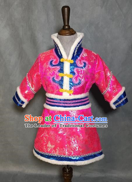 Chinese Traditional Mongol Nationality Pink Mongolian Robe, China Mongolian Minority Folk Dance Ethnic Costume for Kids