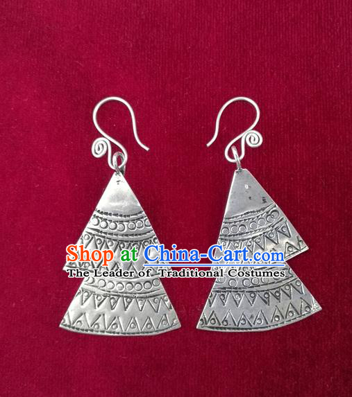 Chinese Miao Sliver Traditional Carving Earrings Hmong Ornaments Minority Headwear for Women