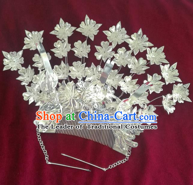 Traditional Chinese Miao Nationality Wedding Hair Comb Hanfu Sliver Hairpins Hair Accessories for Women