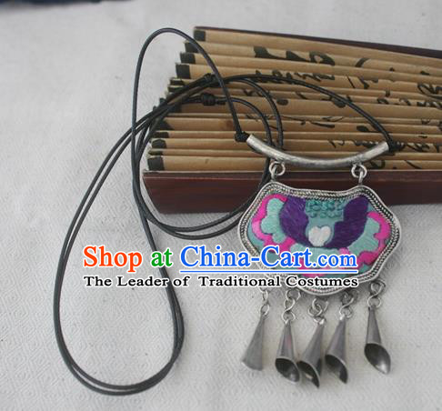 Chinese Miao Sliver Traditional Necklace Hmong Ornaments Minority Embroidered Longevity Lock Headwear for Women