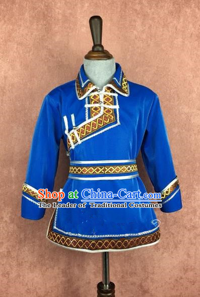 Chinese Traditional Mongol Nationality Royalblue Clothing, China Mongolian Minority Folk Dance Ethnic Costume for Kids