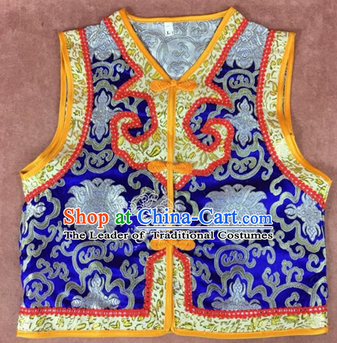 Chinese Traditional Mongol Nationality Royalblue Vest, China Mongolian Minority Folk Dance Waistcoat Ethnic Costume for Kids