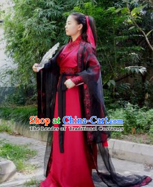 Chinese Ancient Swordswoman Hanfu Dress Tang Dynasty Female Knight Costumes for Women
