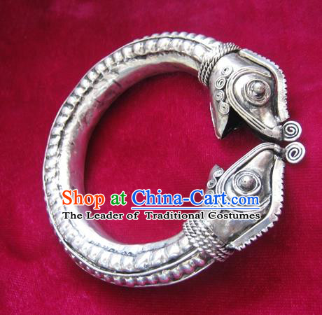 Handmade Chinese Miao Nationality Mandarin Duck Bracelet Traditional Hmong Sliver Bangle for Women
