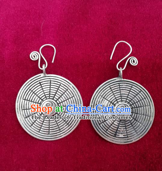 Traditional Chinese Miao Sliver Eight Diagrams Earrings Hmong Ornaments Minority Headwear for Women