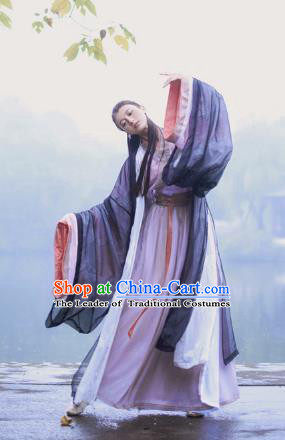 Chinese Ancient Swordswoman Hanfu Dress Jin Dynasty Hermit Embroidered Costumes for Women