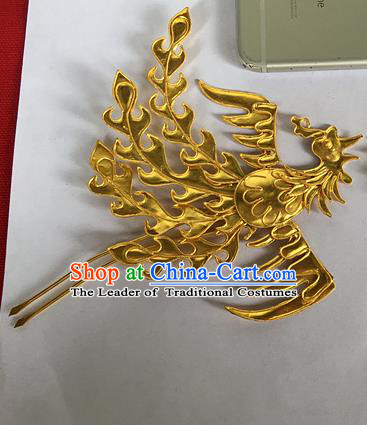 Chinese Traditional Miao Nationality Hair Accessories Golden Phoenix Hairpins Headwear for Women