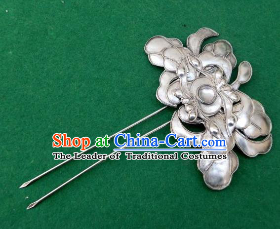 Chinese Traditional Miao Nationality Hair Accessories Minority Lotus Hairpins Headwear for Women
