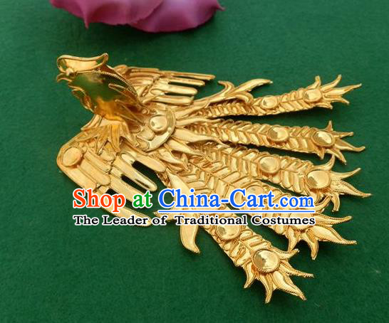 Traditional Chinese Miao Nationality Golden Phoenix Hair Clip Hanfu Hairpins Hair Accessories for Women