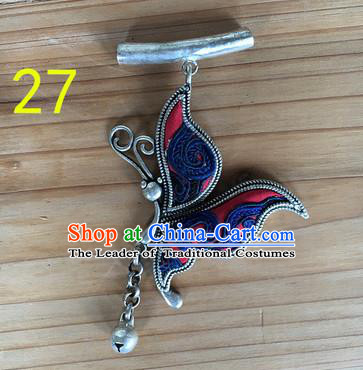 Chinese Traditional Miao Sliver Butterfly Wing Hmong Ornaments Accessories Minority Necklace Pendant for Women