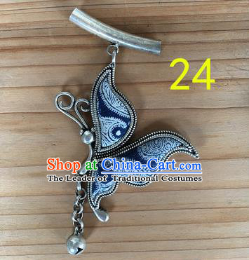 Chinese Traditional Miao Sliver Navy Butterfly Wing Hmong Ornaments Accessories Minority Necklace Pendant for Women