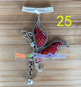 Chinese Traditional Miao Sliver Red Butterfly Wing Hmong Ornaments Accessories Minority Necklace Pendant for Women