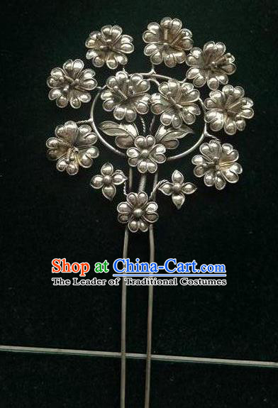 Traditional Chinese Miao Nationality Hair Accessories Minority Flowers Hairpins for Women