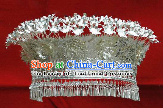 Traditional Chinese Miao Nationality Phoenix Coronet Tassel Hairpins Hair Accessories for Women