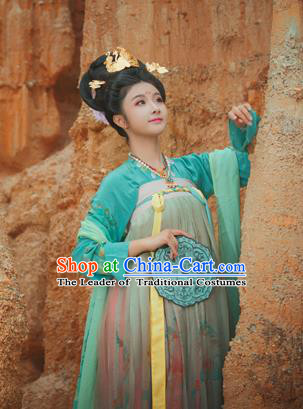 Chinese Tang Dynasty Imperial Concubine Embroidered Costume Ancient Palace Hanfu Dress for Women