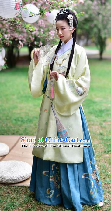 Chinese Ming Dynasty Noble Lady Embroidered Costume Ancient Debutante Hanfu Dress for Women