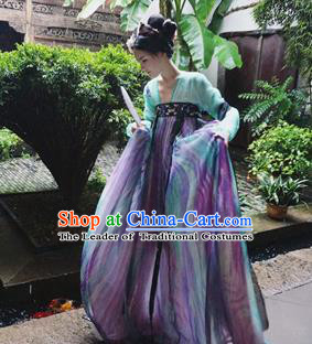 Chinese Tang Dynasty Palace Lady Embroidered Costume Ancient Imperial Concubine Hanfu Dress for Women