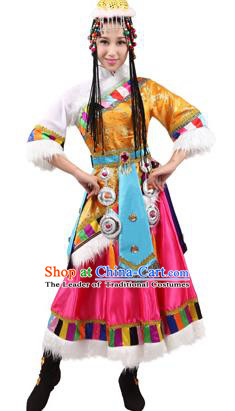 Traditional Chinese Zang Nationality Dance Yellow Costume, Tibetan Minority Folk Dance Ethnic Clothing for Women