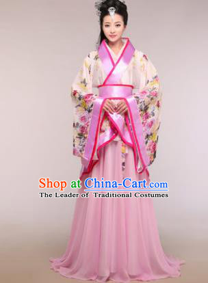Traditional Chinese Ancient Palace Lady Costume Han Dynasty Princess Pink Hanfu Dress for Women