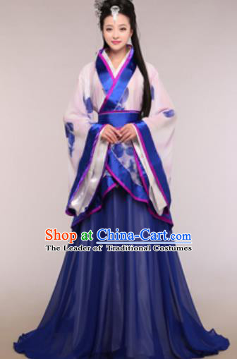 Traditional Chinese Ancient Palace Lady Costume Han Dynasty Princess Royalblue Hanfu Dress for Women