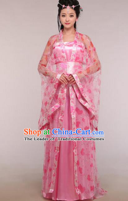 Traditional Chinese Ancient Fairy Costume Tang Dynasty Imperial Princess Pink Hanfu Dress for Women