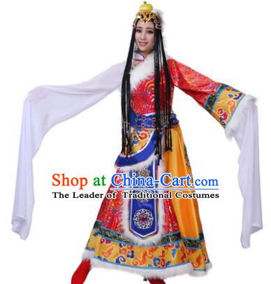 Traditional Chinese Zang Nationality Water Sleeve Dress, Tibetan Minority Folk Dance Ethnic Costume and Headpiece for Women