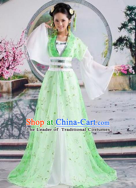 Traditional Chinese Ancient Palace Lady Costume Tang Dynasty Princess Embroidered Green Hanfu Dress for Women