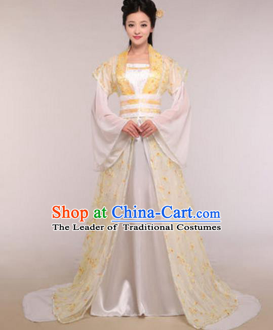 Traditional Chinese Ancient Palace Lady Costume Tang Dynasty Princess Embroidered Yellow Hanfu Dress for Women
