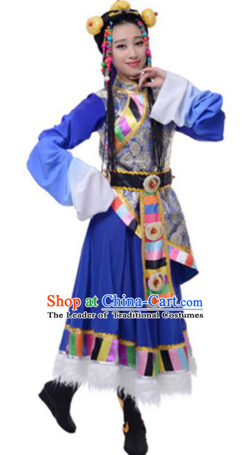 Traditional Chinese Mongolian Nationality Blue Dress, Mongol Minority Folk Dance Ethnic Costume and Headwear for Women