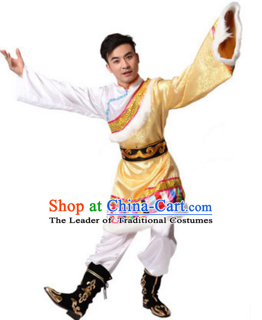 Traditional Chinese Zang Nationality Dance Clothing, Tibetan Minority Folk Dance Ethnic Costume for Men