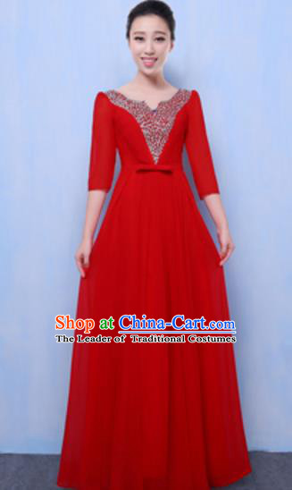 Top Grade Chorus Singing Group Red Full Dress, Compere Classical Dance Costume for Women