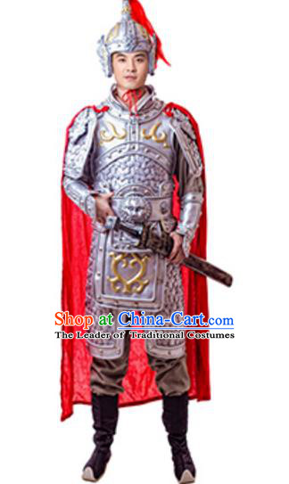 Traditional Chinese Ancient Song Dynasty General Costume Historical Body Armor and Helmet Complete Set