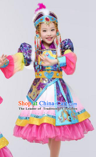Traditional Chinese Mongols Ethnic Clothing, China Mongolian Minority Folk Dance Costume and Headwear for Kids