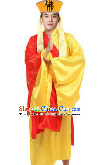 Traditional Chinese Ancient Shaveling Costume Song Dynasty Legend of the White Snake Monk Fa Hai Historical Clothing and Headpiece Complete Set