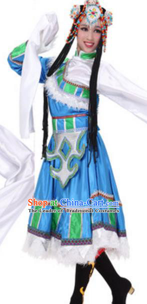 Traditional Chinese Zang Nationality Ethnic Clothing, China Tibetan Minority Folk Dance Costume for Women