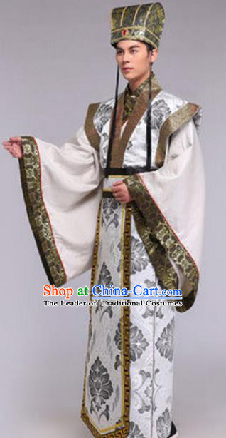 Traditional Chinese Ancient Military Counsellor Costume Han Dynasty Prime Minister Historical Clothing for Men