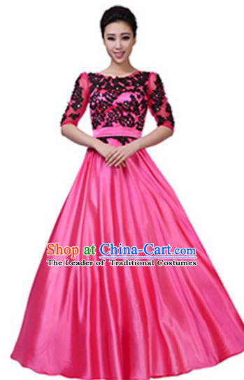 Top Grade Chorus Group Pink Long Full Dress, Compere Stage Performance Choir Costume for Women