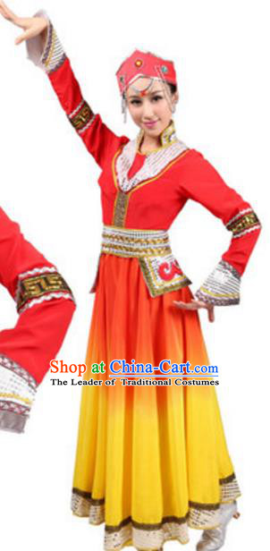 Traditional Chinese Mongolian Nationality Costume, Chinese Mongols Ethnic Dance Red Dress Clothing and Hat for Women