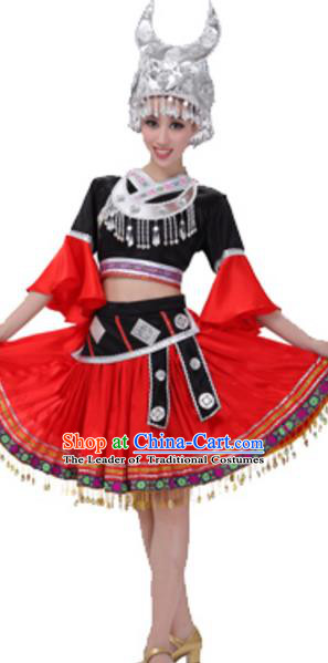 Traditional Chinese Yao Nationality Dance Green Dress, Chinese Yao Ethnic Dance Costume and Headwear for Women