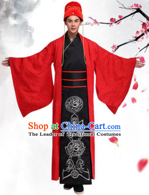 Chinese Ancient Bridegroom Wedding Costume Han Dynasty Scholar Historical Clothing for Men